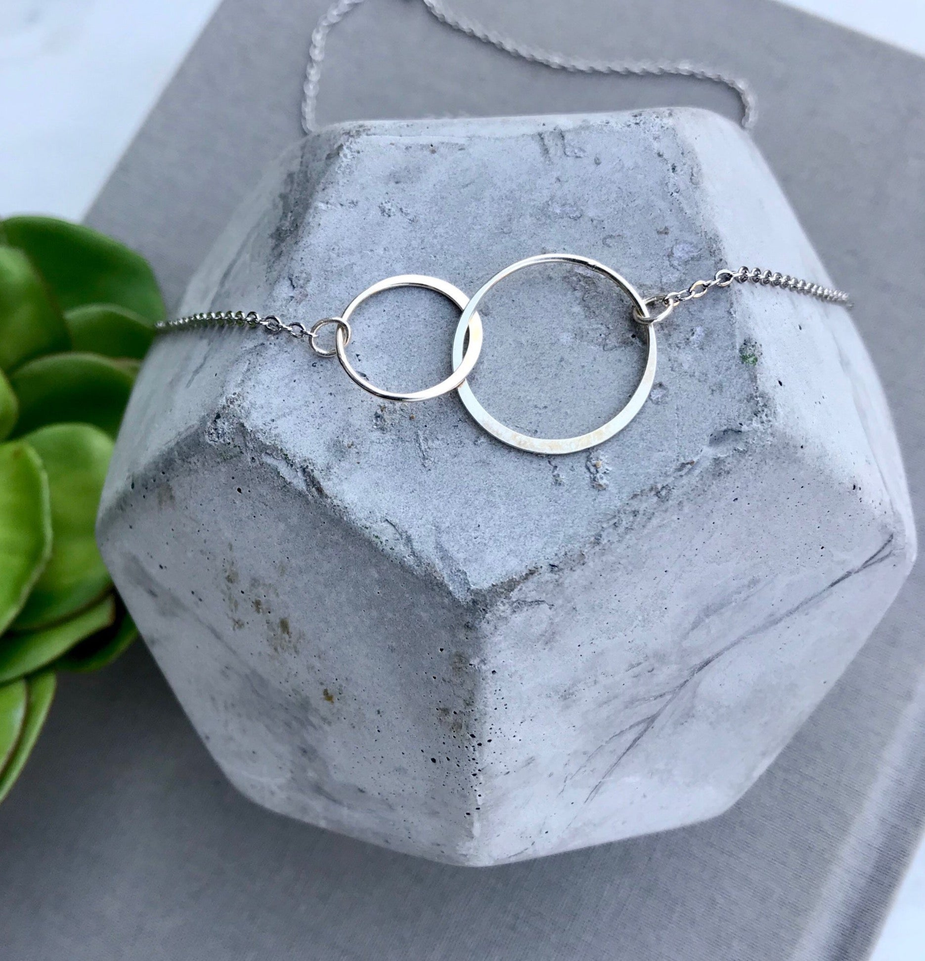 Sterling Silver Double Infinity Interlocking Circles Necklace