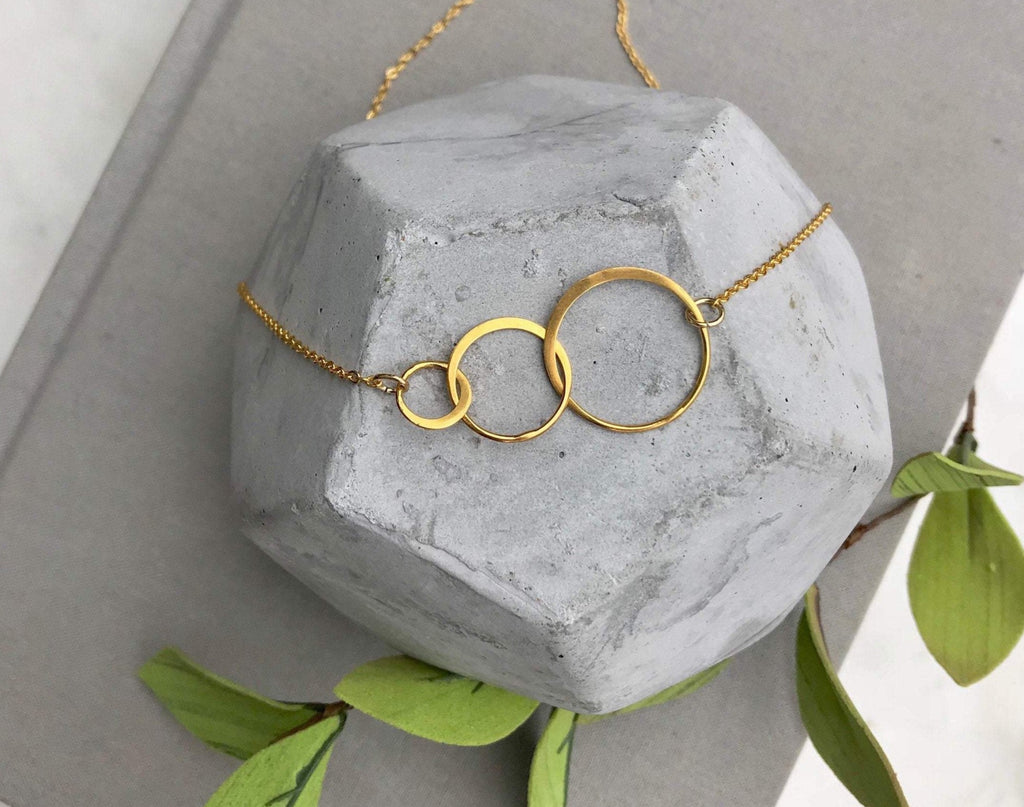 Gold Triple Interlocking Linked Circles Necklace