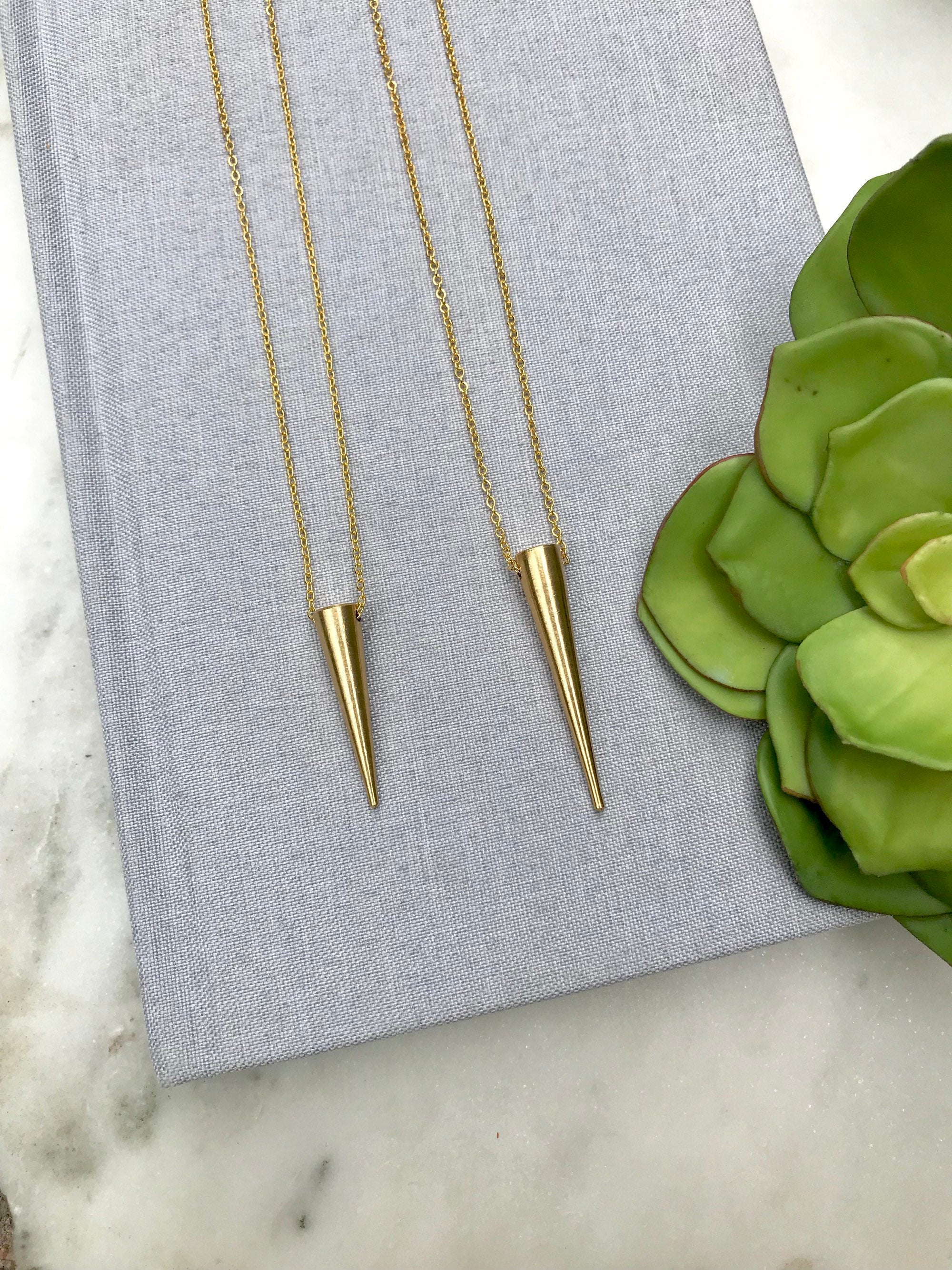 Minimalist Gold Spike Necklace