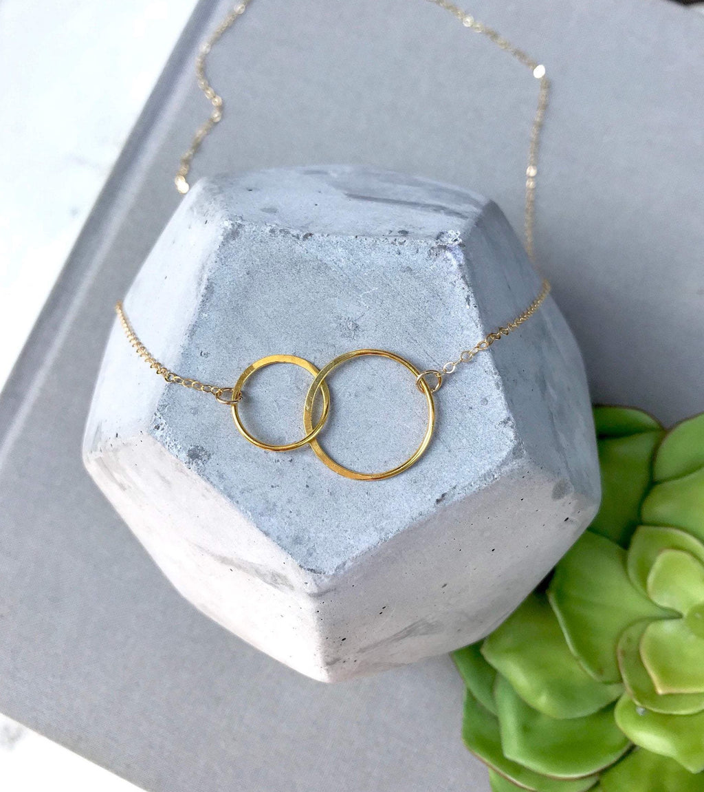 Gold Double Interlocking Circles Necklace