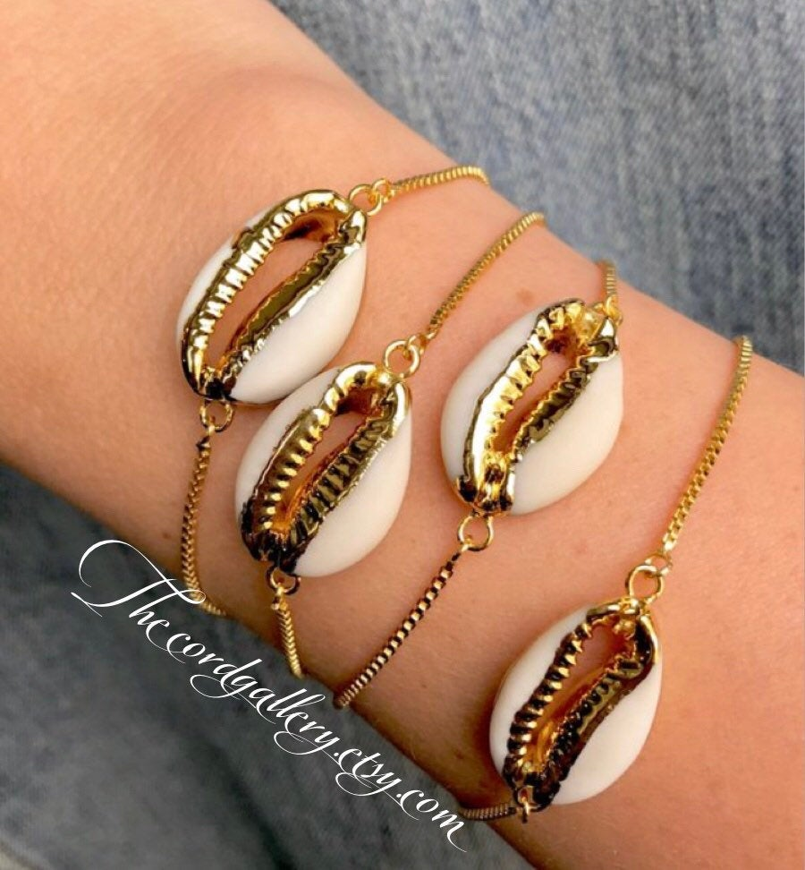 Genuine Cowrie Shell Gold Dipped Bracelet - Adjustable
