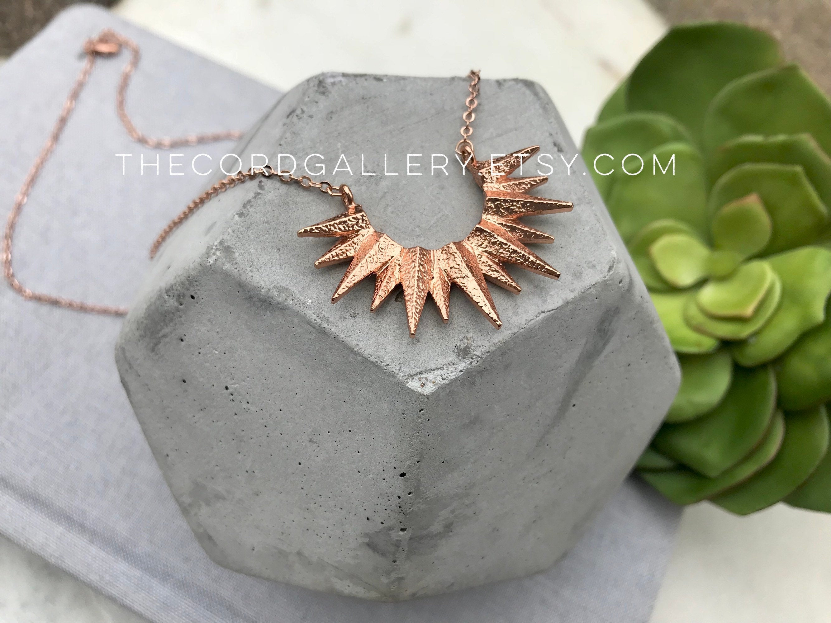 Rose Gold Crescent Sun Necklace