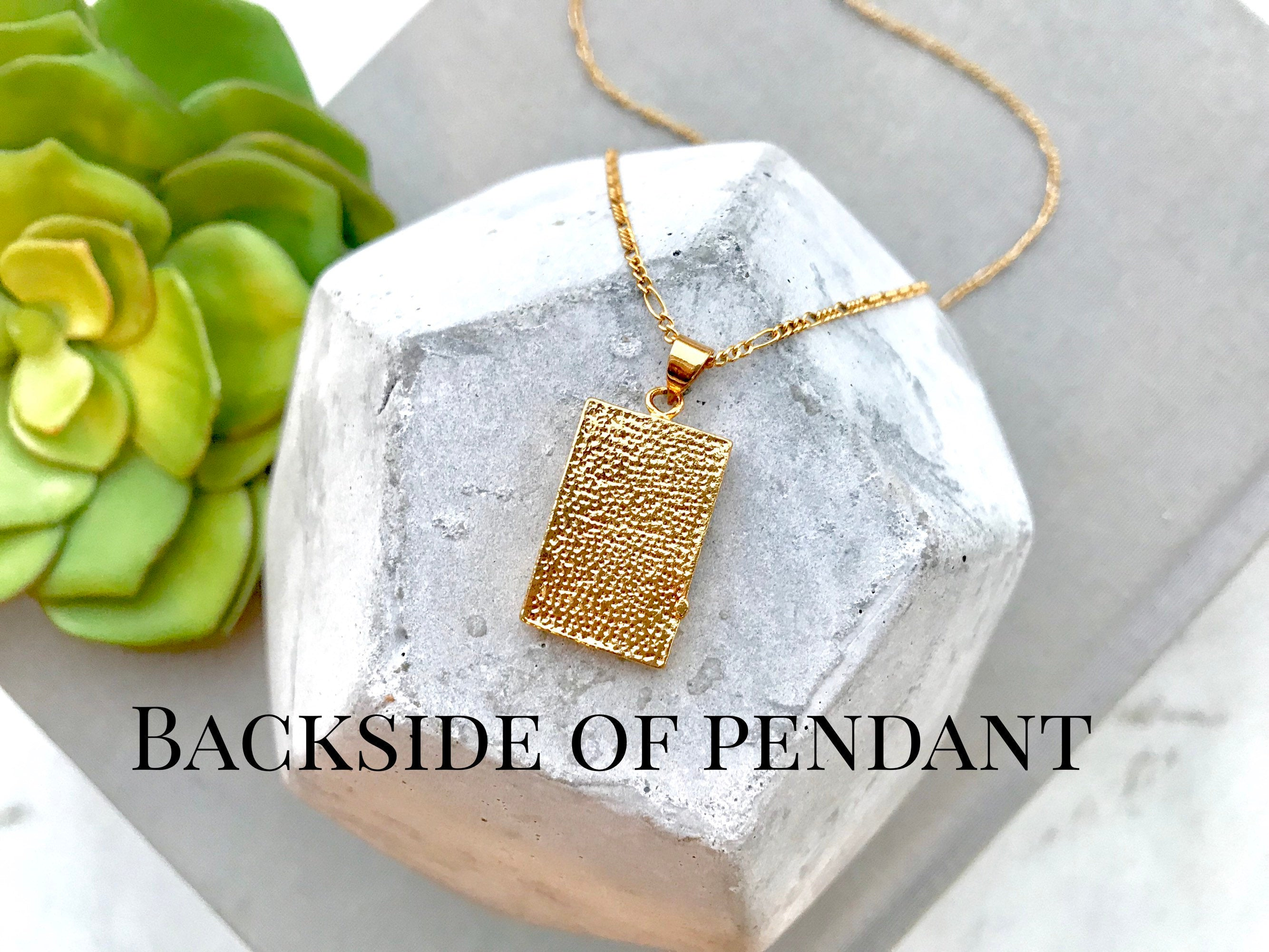 Gold Vintage Style Square Medallion Necklace