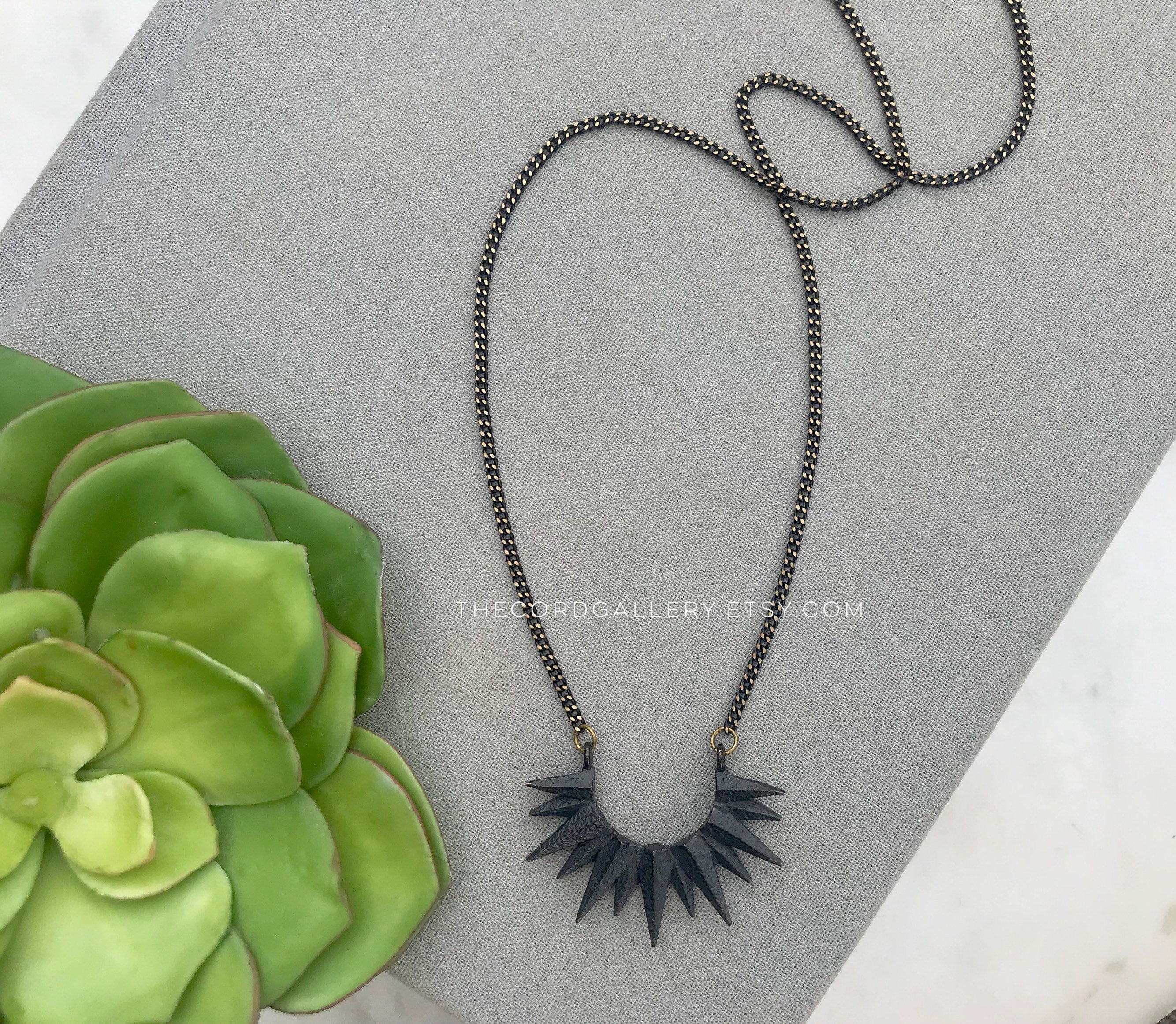 Black Crescent Sun Necklace - Oxidized Brass
