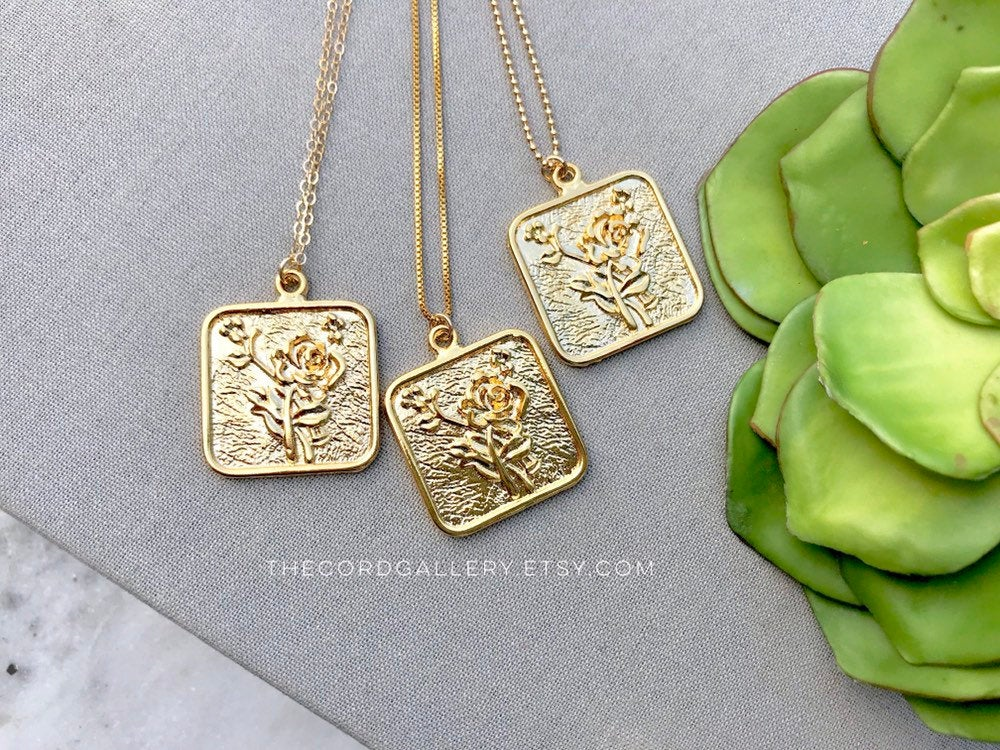 Gold Flower Square Medallion Necklace