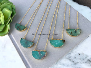 Genuine Chrysoprase Half Moon Pendant Necklace