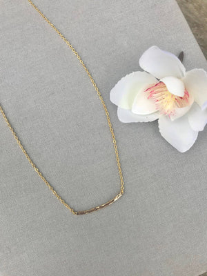 Dainty Gold Curved Bar Necklace