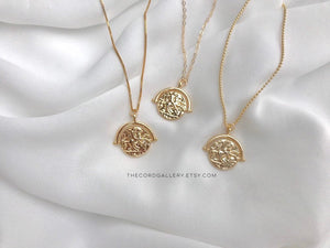 Gold Filled Greek Medallion Necklace