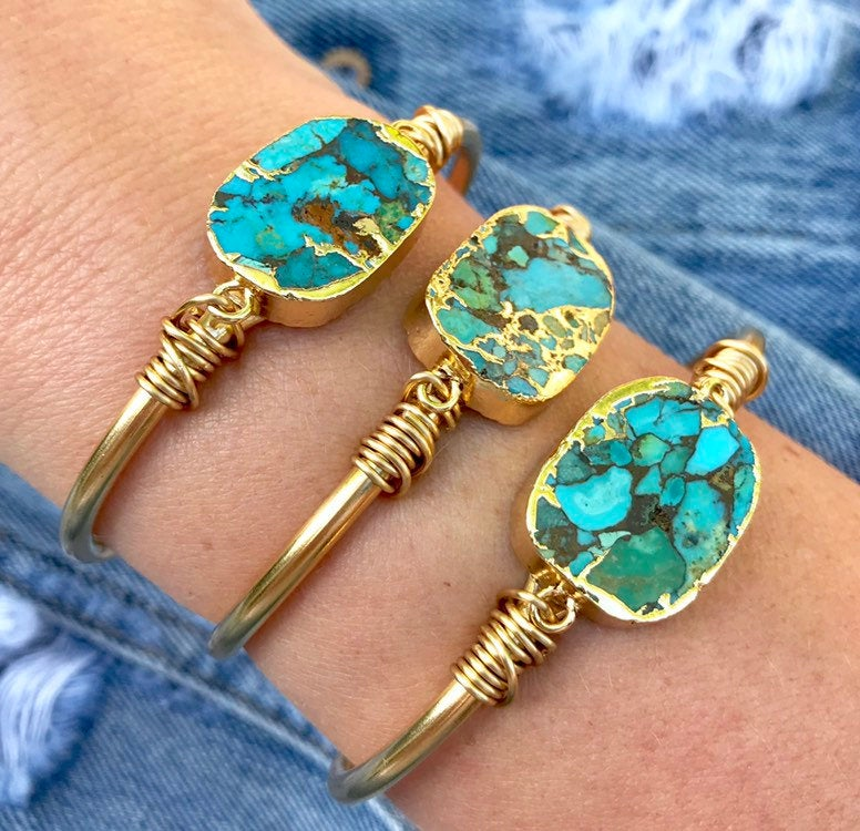 Genuine Mojave Turquoise Cuff Bracelet - Gold