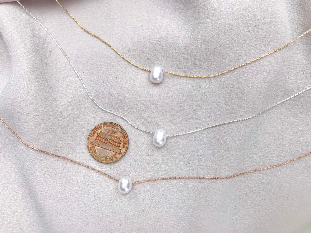 Genuine Freshwater Pearl Necklace - Gold Filled - Sterling Silver - Rose Gold Filled