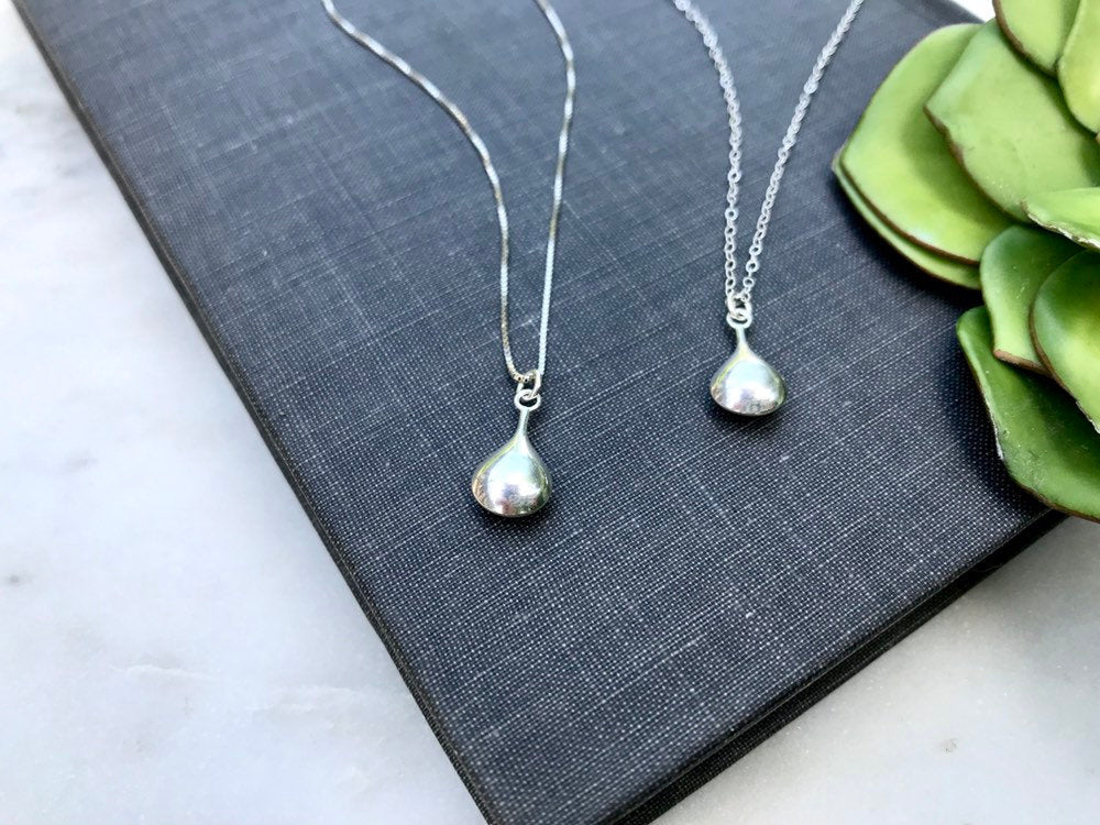 Minimalist Sterling Silver Teardrop Necklace