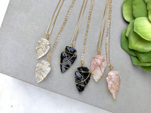 Black Agate Arrowhead Pendant Boho Necklace Finding  NC-121 Rock Crystal Quartz Electroplated Silver Sterling Silver or Gold Plated