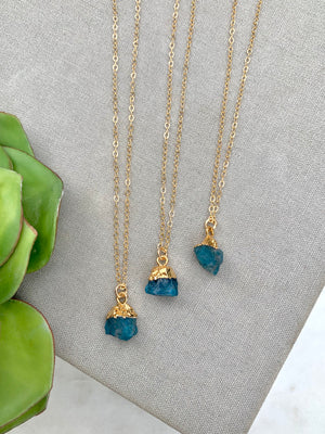 Raw Apatite Gemstone Necklace