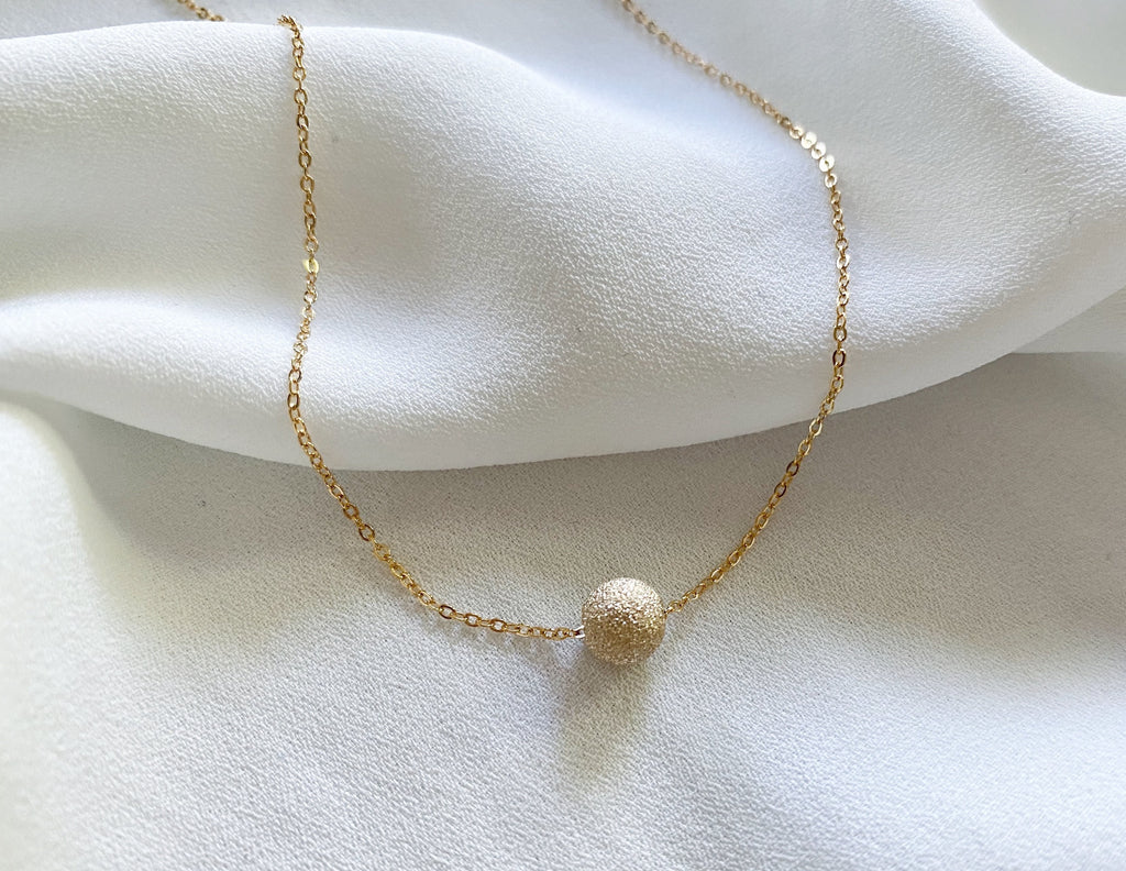Gold Stardust Floating Ball Pendant Necklace