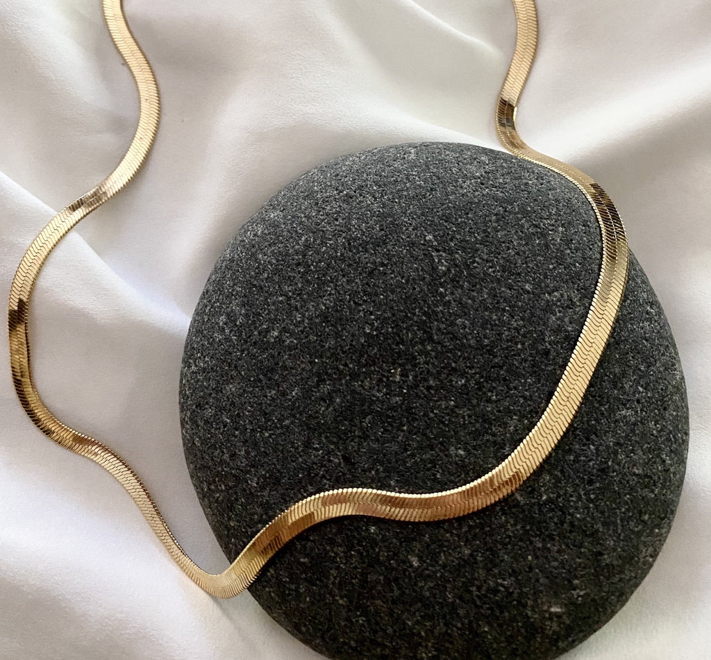 Gold Filled Herringbone Flat Snake Chain Necklace
