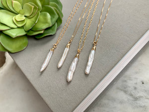 Biwa Stick Pearl Pendant Necklace