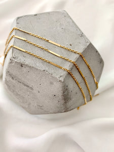 Dainty Gold Filled Flat Bar Chain Necklace