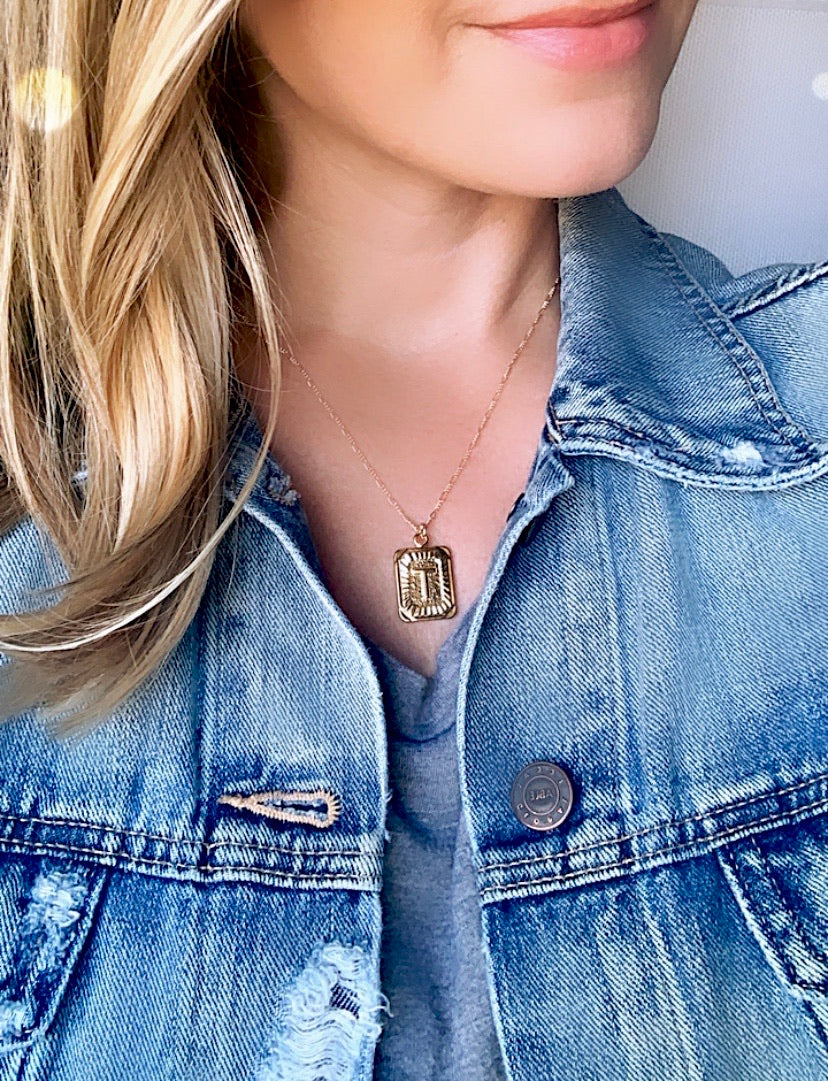 Vintage Style Initial Letter Medallion Necklace - Personalized Jewelry {16 to 18 inches}