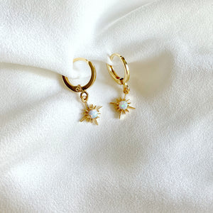 Dainty Opal Star Gemstone Earrings / Silver or Gold - October Birthstone
