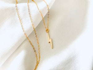 Dainty Gold Filled Lightning Bolt Charm Necklace