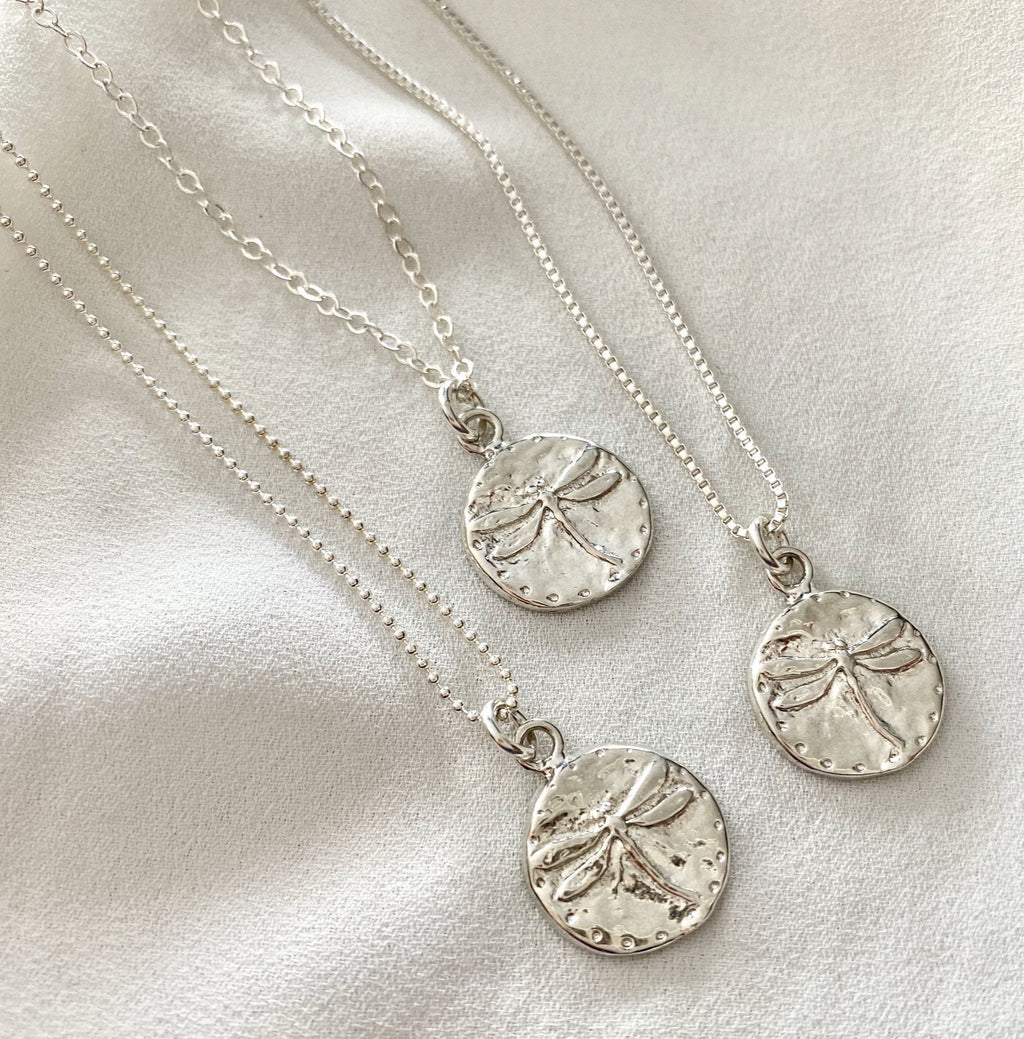 Sterling Silver Dragonfly Coin Necklace