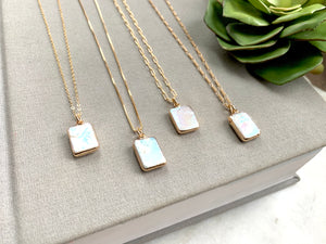 Square Keishi Pearl Pendant Necklace