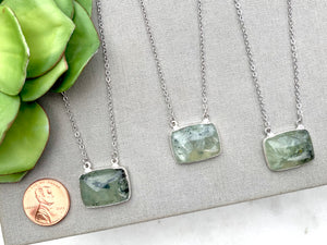 Prehnite Square Pendant Necklace - Silver