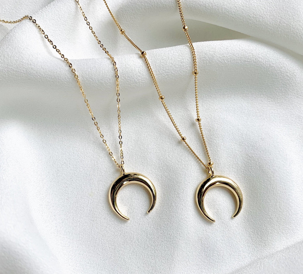 Gold Filled Crescent Moon Pendant Necklace