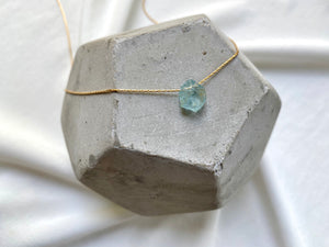 Raw Aquamarine Gemstone Necklace - March Birthstone