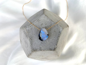 Raw Flashy Moonstone Pendant Necklace