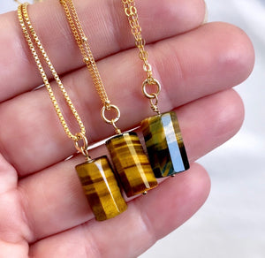 Tiger's Eye Pendant Necklace - Gold Filled Chain