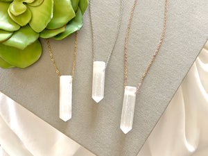 Raw Selenite Crystal Point Necklace