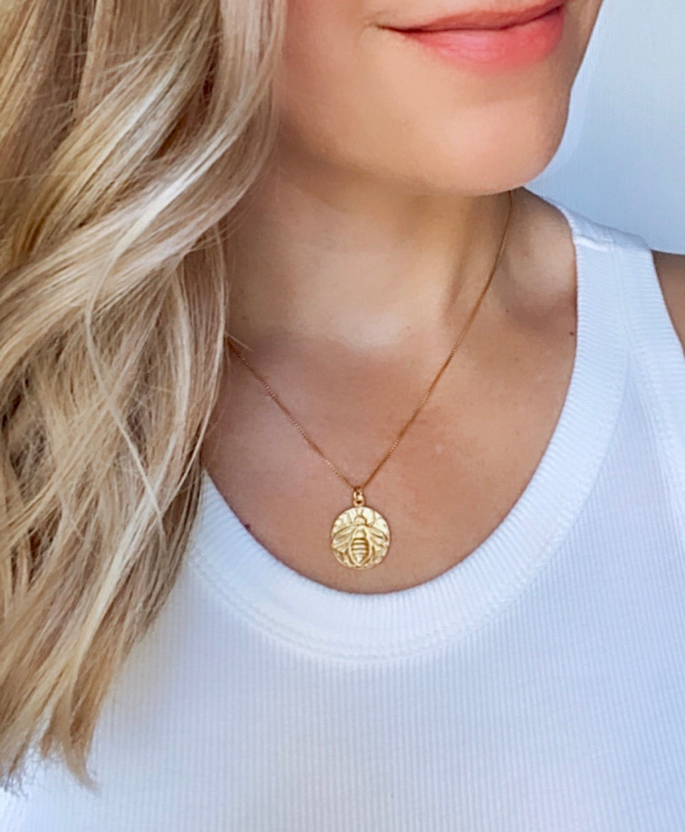 Gold Honey Queen Bee Medallion Necklace