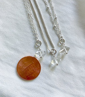 Dainty Sterling Silver Herkimer Charm Necklace