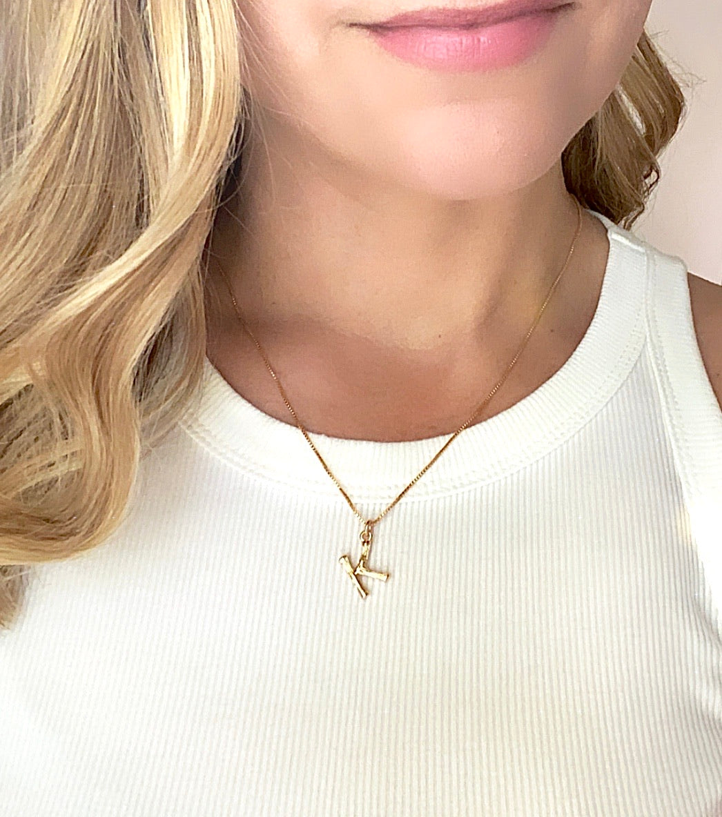 Mini Gold Bamboo Letter Initial Necklace {20 to 22 inches}