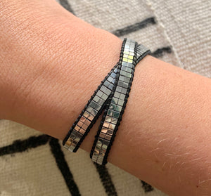 Silver and Black Beaded Hematite Wrap Bracelet