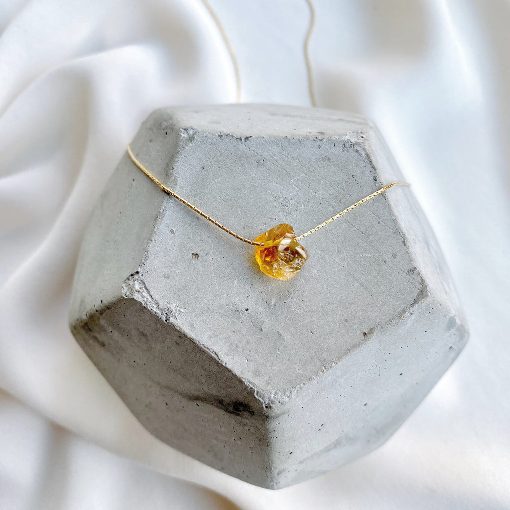 Dainty Raw Citrine Gemstone Necklace - November Birthstone