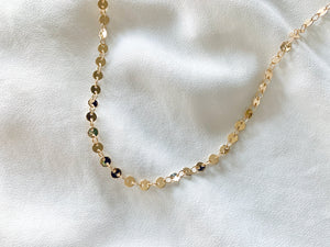 Gold Filled Circle Disc Chain Necklace