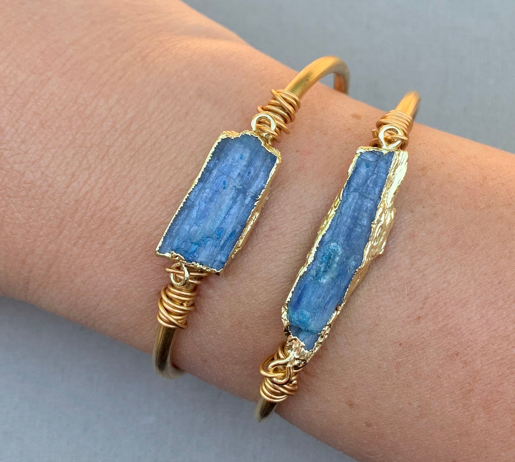 Raw Blue Kyanite Cuff Bracelet - Gold