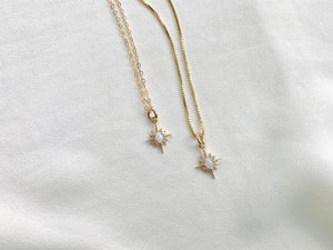 Dainty Opal Star Medallion Necklace