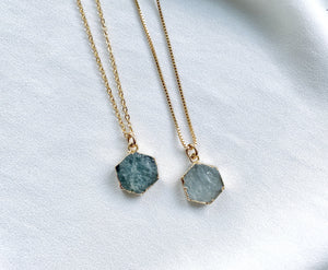 Raw Aquamarine Geometric Hexagon Pendant Necklace - March Birthstone