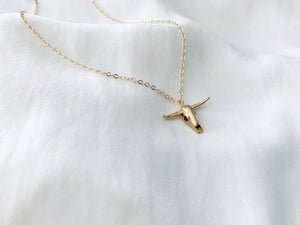 Mini Gold Steer Head Pendant Necklace