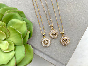Gold CZ Personalized Initial Coin Medallion Necklace - {16 and 18 inches}