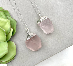 Large Chunky Rose Quartz Pendant Necklace - Silver