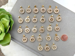 Gold CZ Personalized Initial Coin Necklace - {16 and 18 inches}