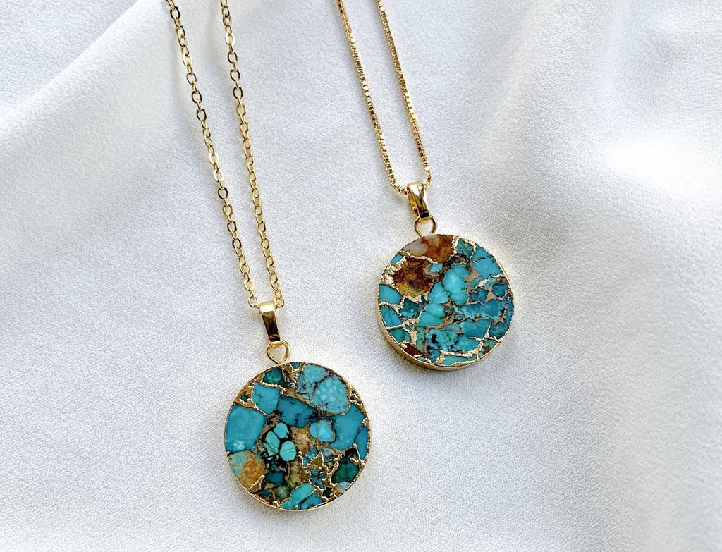 Raw Turquoise Medallion Circle Necklace