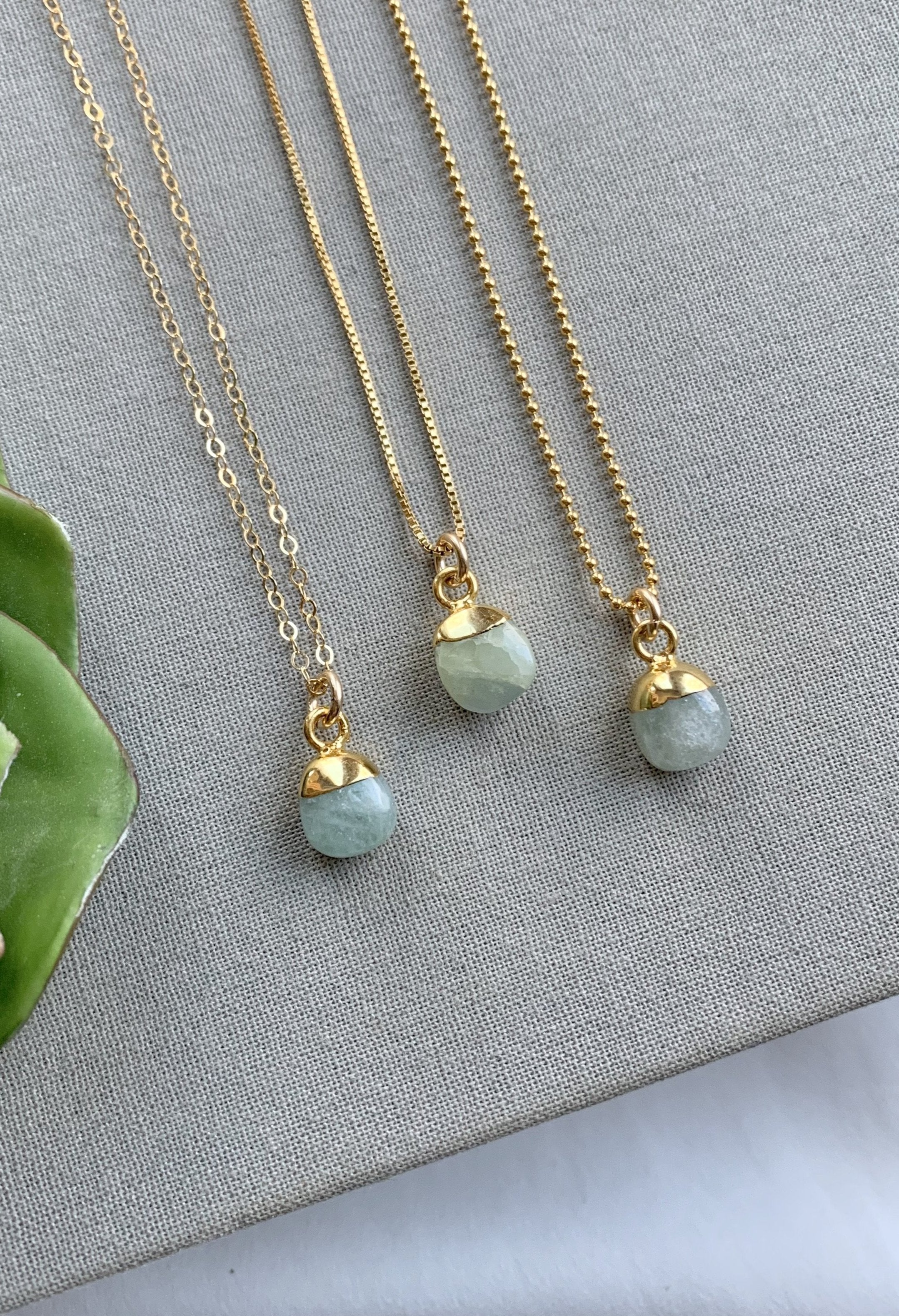 Dainty Aquamarine Pendant Necklace - March Birthstone
