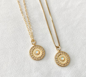 Opal Sunburst Coin Medallion Necklace