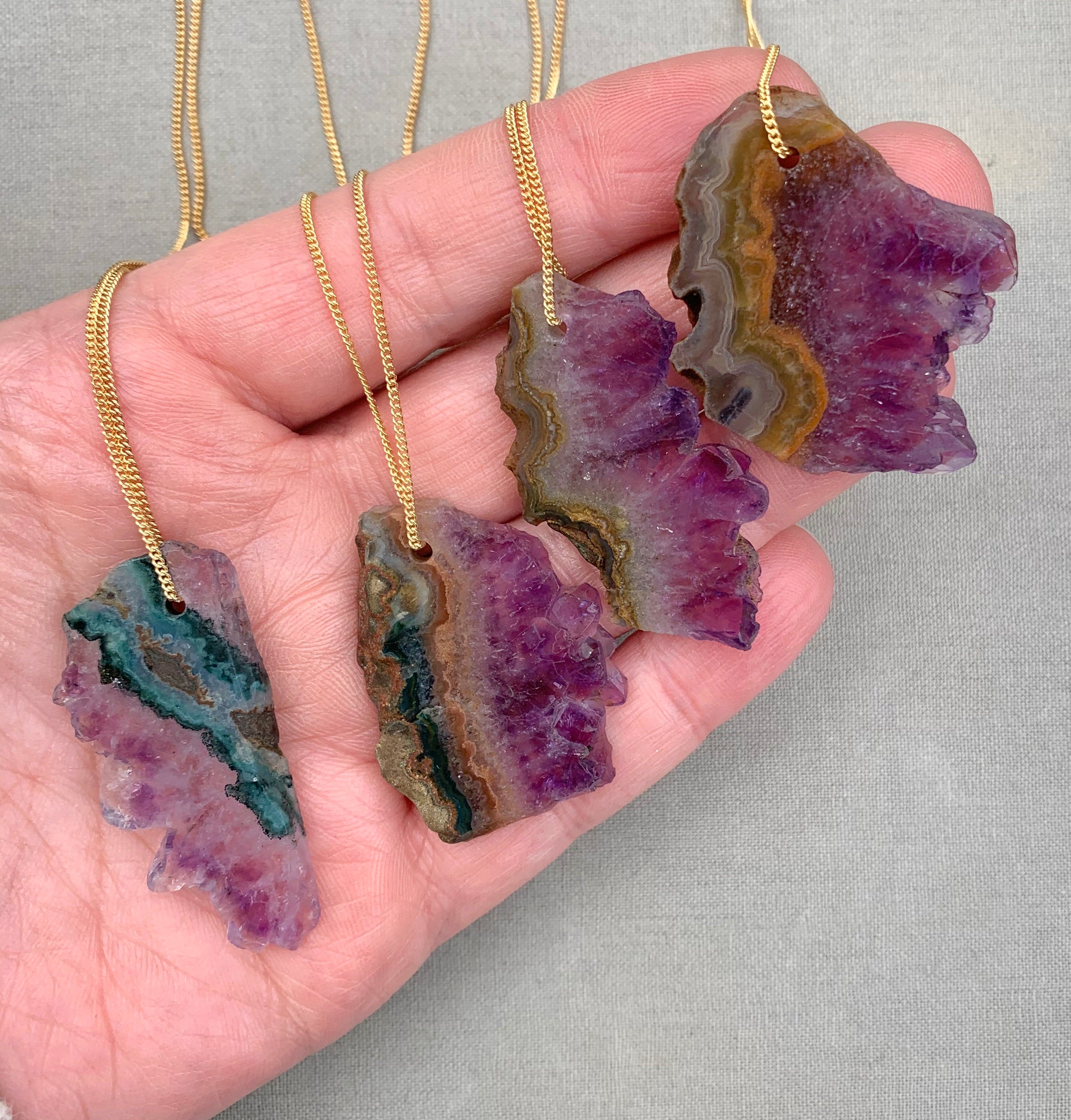 Genuine Raw Amethyst Slice Necklace - Gold Filled