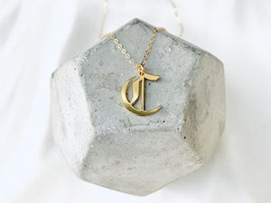 Gold Filled Old English Upper Case Letter Necklace {16 and 18 inches}